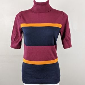 LL Bean Merino Wool Colorblock Stripe Turtleneck